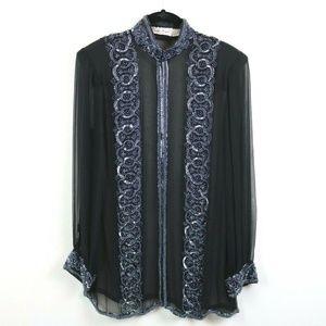 Laurence Kazar Womens Blouse Sheer Beaded Silk